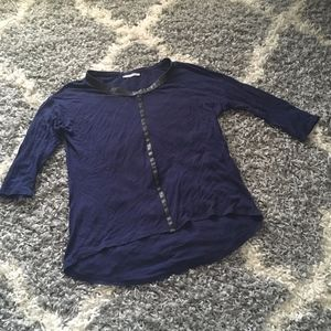 Zara Faux Leather Trim Elbow Length Navy Blouse